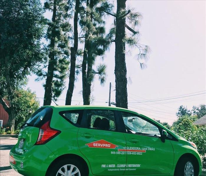 SERVPRO San Dimas sales car out on a windy day